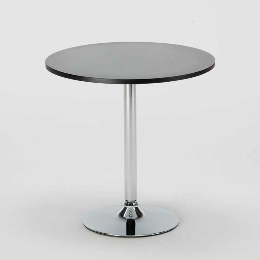 Tavolino Rotondo Nero 70x70cm Con 2 Sedie Colorate Interno Bar B-SIDE GHOST - esterno