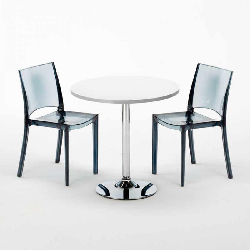 Tavolino Rotondo bianco 70x70cm Con 2 Sedie Colorate Interno Bar B-SIDE SPECTRE - vendita