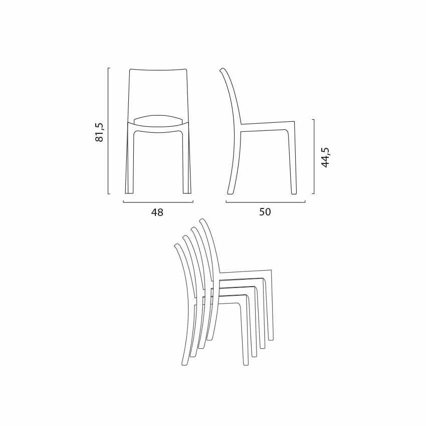Tavolino Rotondo bianco 70x70cm Con 2 Sedie Colorate Interno Bar B-SIDE SPECTRE - immagine