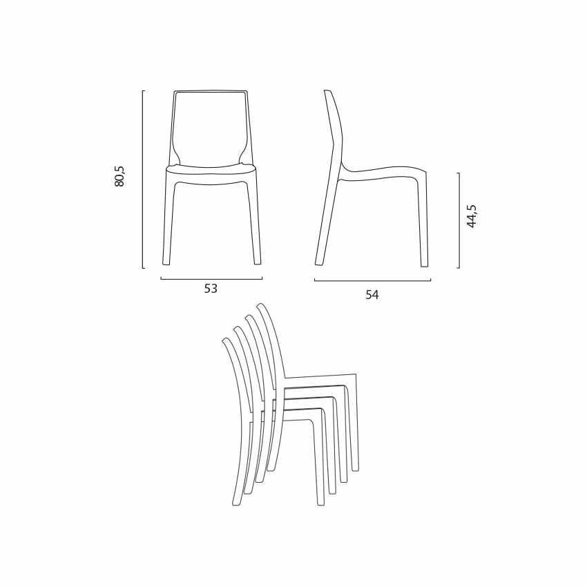 Tavolino Rotondo bianco 70x70cm Con 2 Sedie Colorate Interno Bar FEMME FATALE SPECTRE - dettaglio