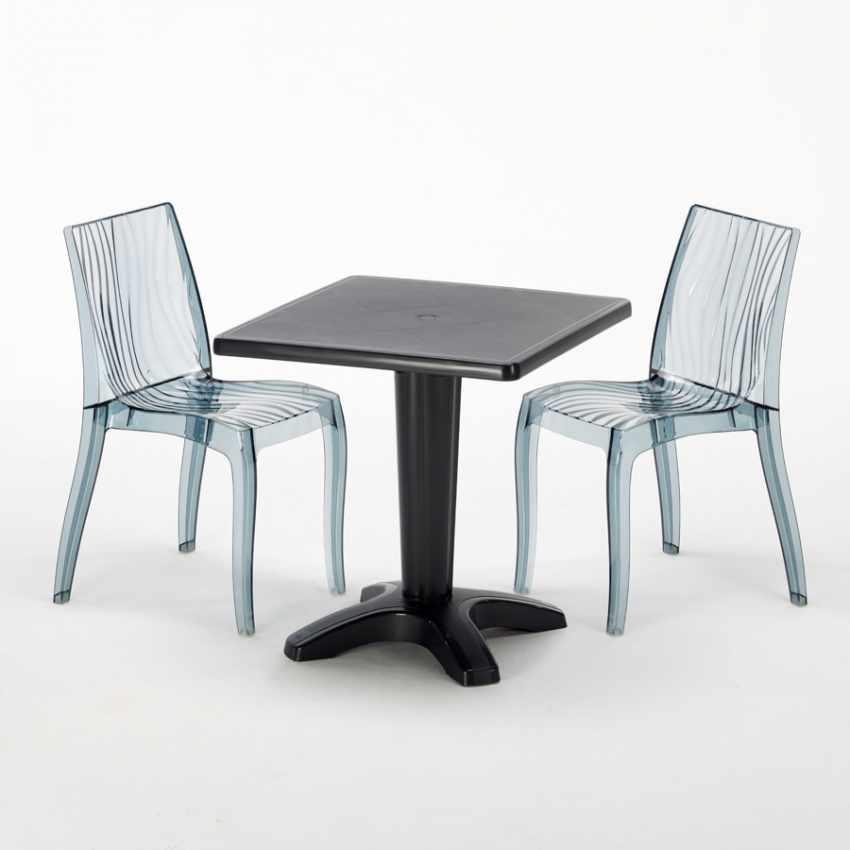 Tavolino Quadrato nero 70x70cm Con 2 Sedie Colorate Interno Bar DUNE BALCONY - interno