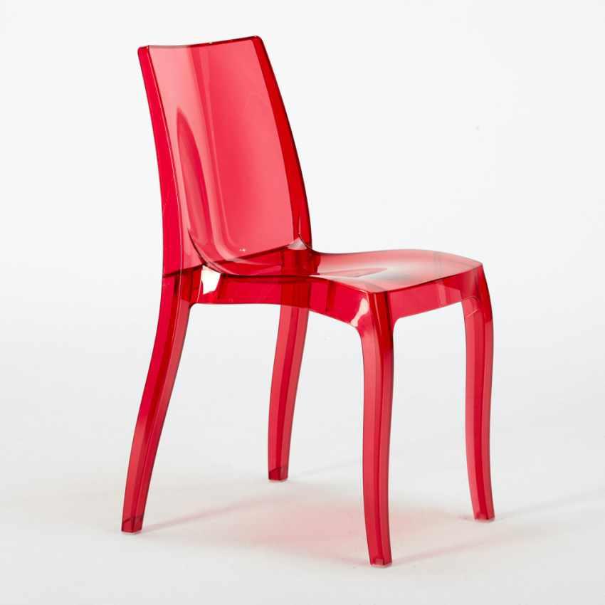 Tavolino Quadrato nero 70x70cm Con 2 Sedie Colorate Interno Bar CRISTAL LIGHT BALCONY - migliore