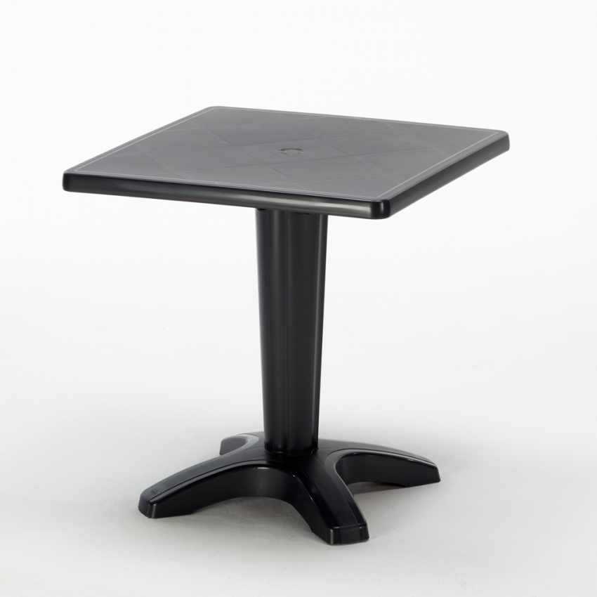 Tavolino Quadrato nero 70x70cm Con 2 Sedie Colorate Interno Bar CRISTAL LIGHT BALCONY - esterno