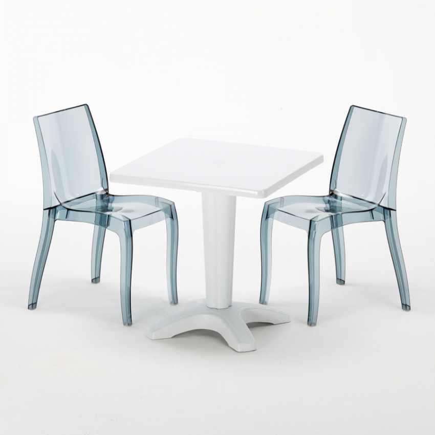 Tavolino Quadrato bianco 70x70cm Con 2 Sedie Colorate Interno Bar CRISTAL LIGHT TERRACE - vendita