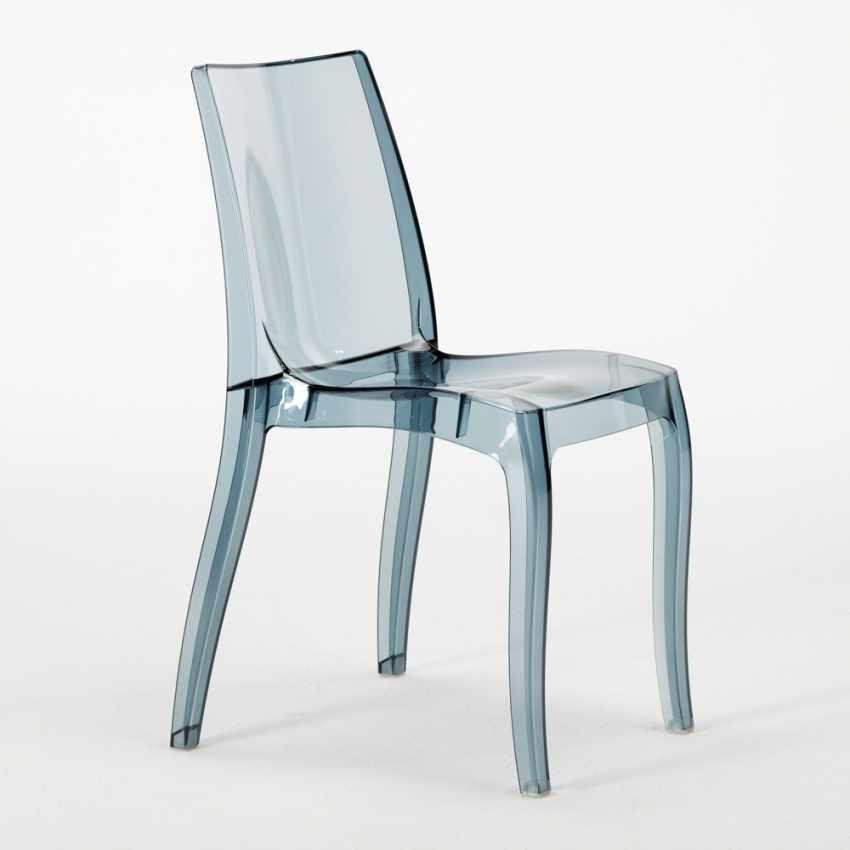 Tavolino Quadrato bianco 70x70cm Con 2 Sedie Colorate Interno Bar CRISTAL LIGHT TERRACE - esterno