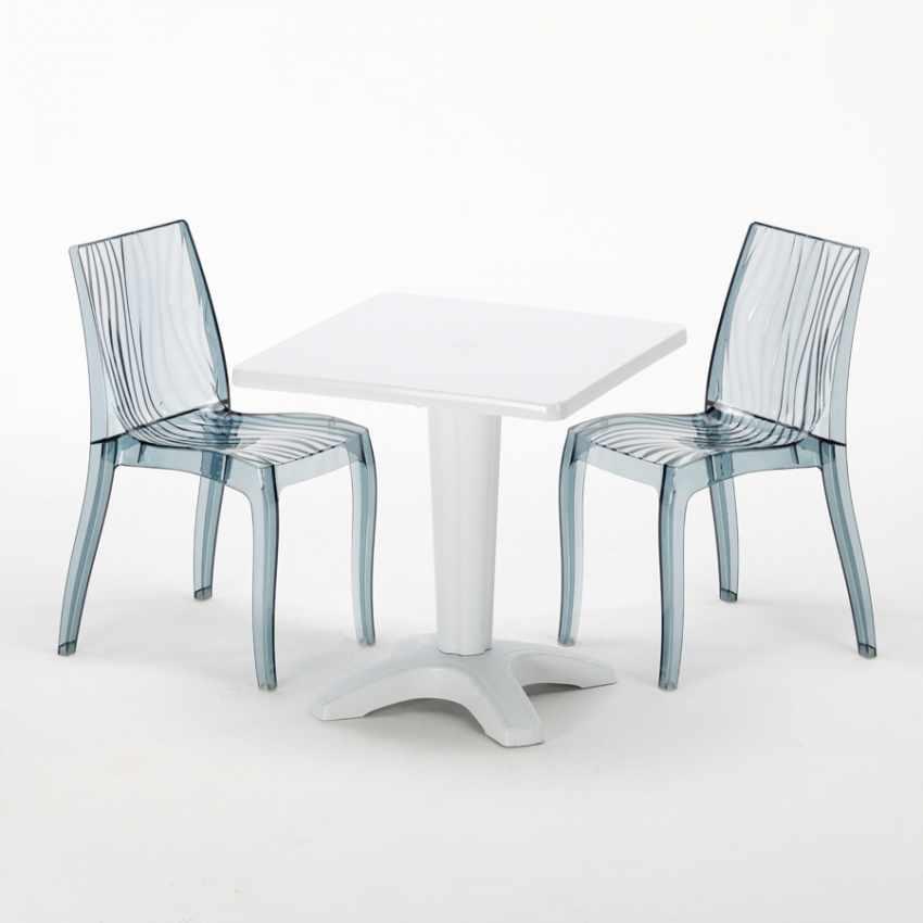 Tavolino Quadrato bianco 70x70cm Con 2 Sedie Colorate Interno Bar DUNE TERRACE - vendita