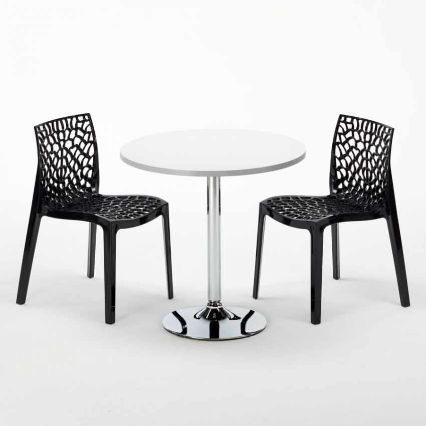 Tavolino Rotondo Bianco 70x70cm Con 2 Sedie Colorate Interno Bar GRUVYER LONG ISLAND - foto