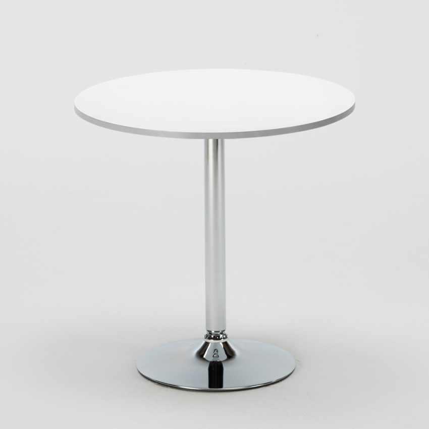 Tavolino Rotondo Bianco 70x70cm Con 2 Sedie Colorate Interno Bar GRUVYER LONG ISLAND - nuovo