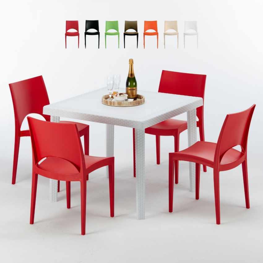 Tavolino Quadrato Bianco 90x90 Con 4 Sedie Esterno Bar PARIS LOVE - promo
