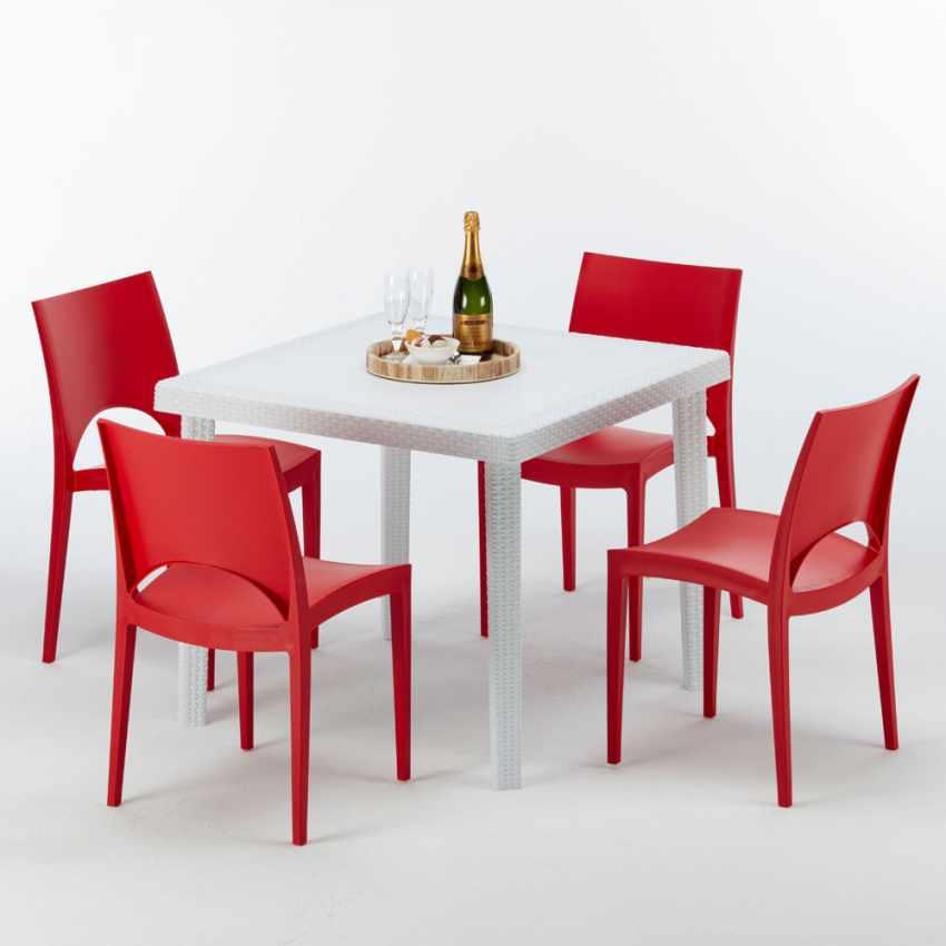 Tavolino Quadrato Bianco 90x90 Con 4 Sedie Esterno Bar PARIS LOVE - migliore