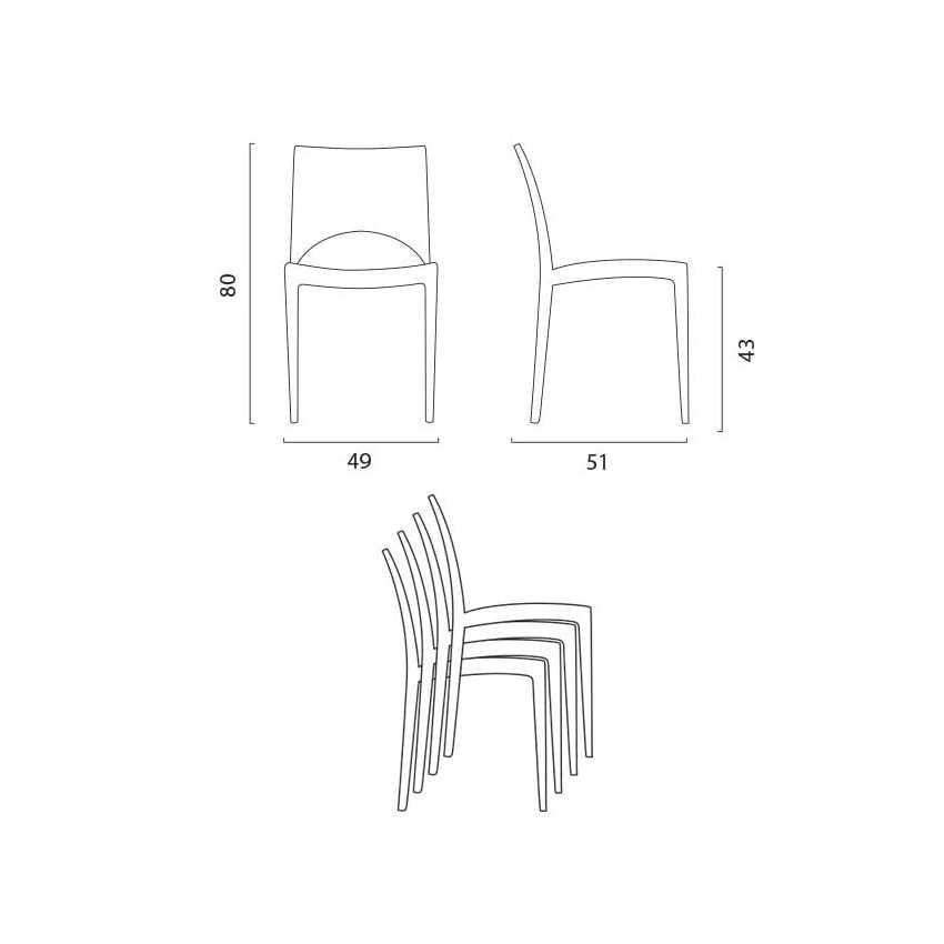 Tavolino Quadrato Bianco 90x90 Con 4 Sedie Esterno Bar PARIS LOVE - offerta