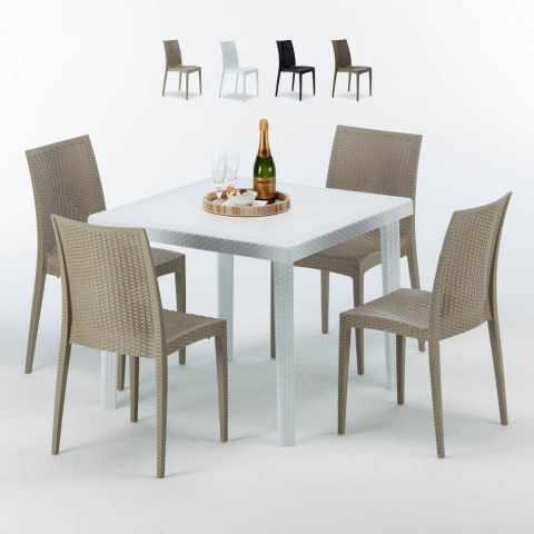 Sedie e tavoli polyrattan per giardino esterni e bar for Sedie tavolo esterno