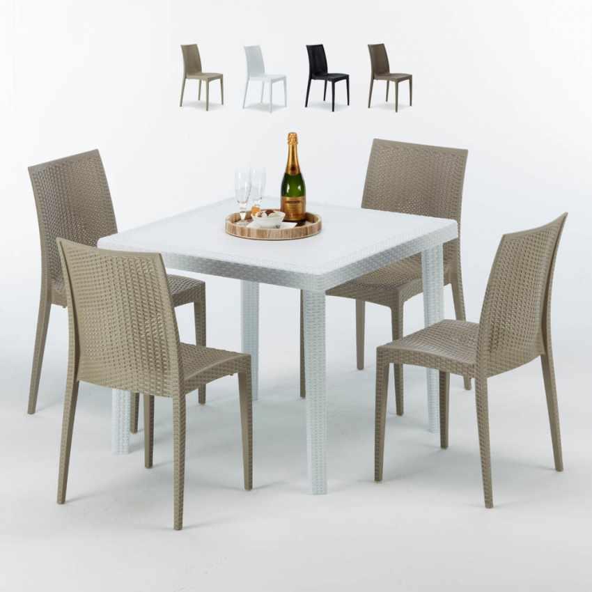 Tavolino Quadrato Bianco 90x90 Con 4 Sedie Esterno Bar BISTROT LOVE - promo