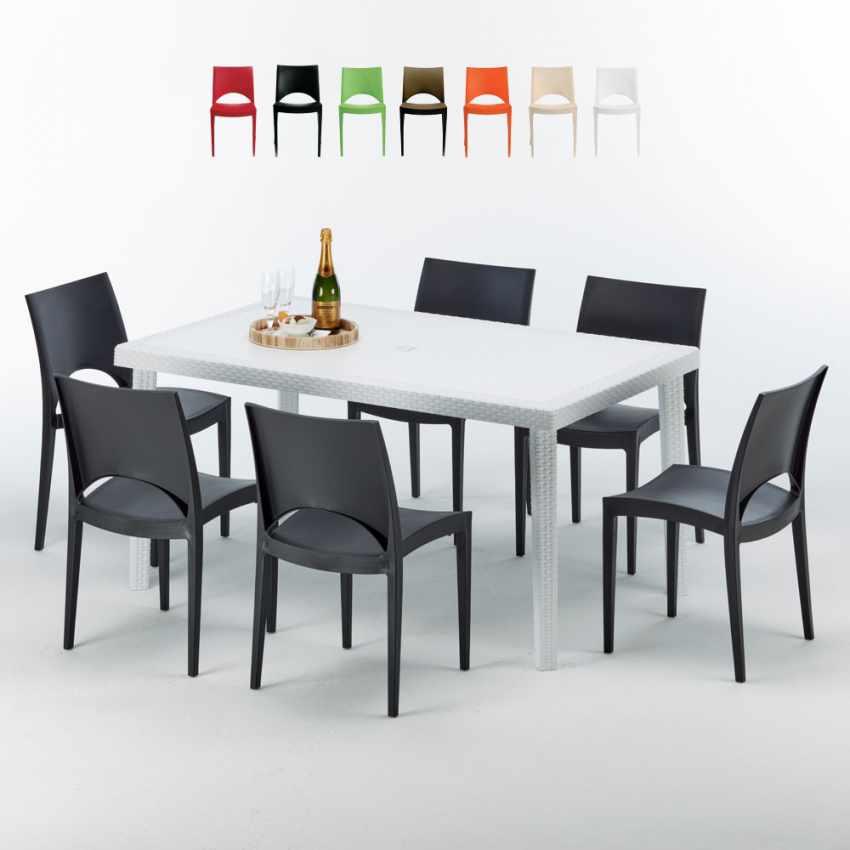 Tavolo Rettangolare Bianco 150x90 Con 6 Sedie Esterno Bar PARIS SUMMERLIFE - promo