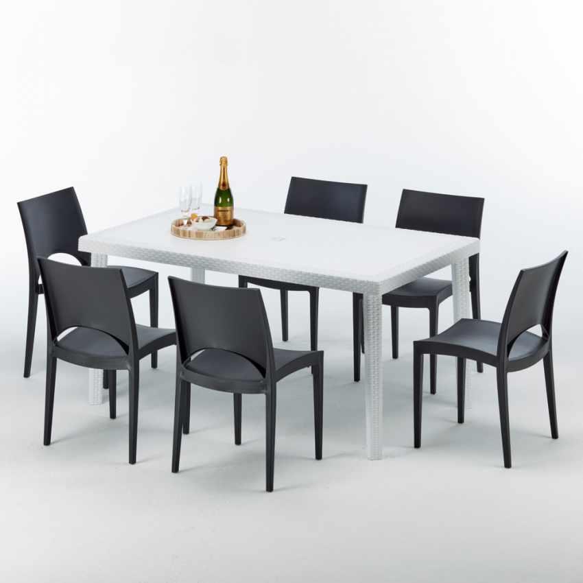 Tavolo Rettangolare Bianco 150x90 Con 6 Sedie Esterno Bar PARIS SUMMERLIFE - price
