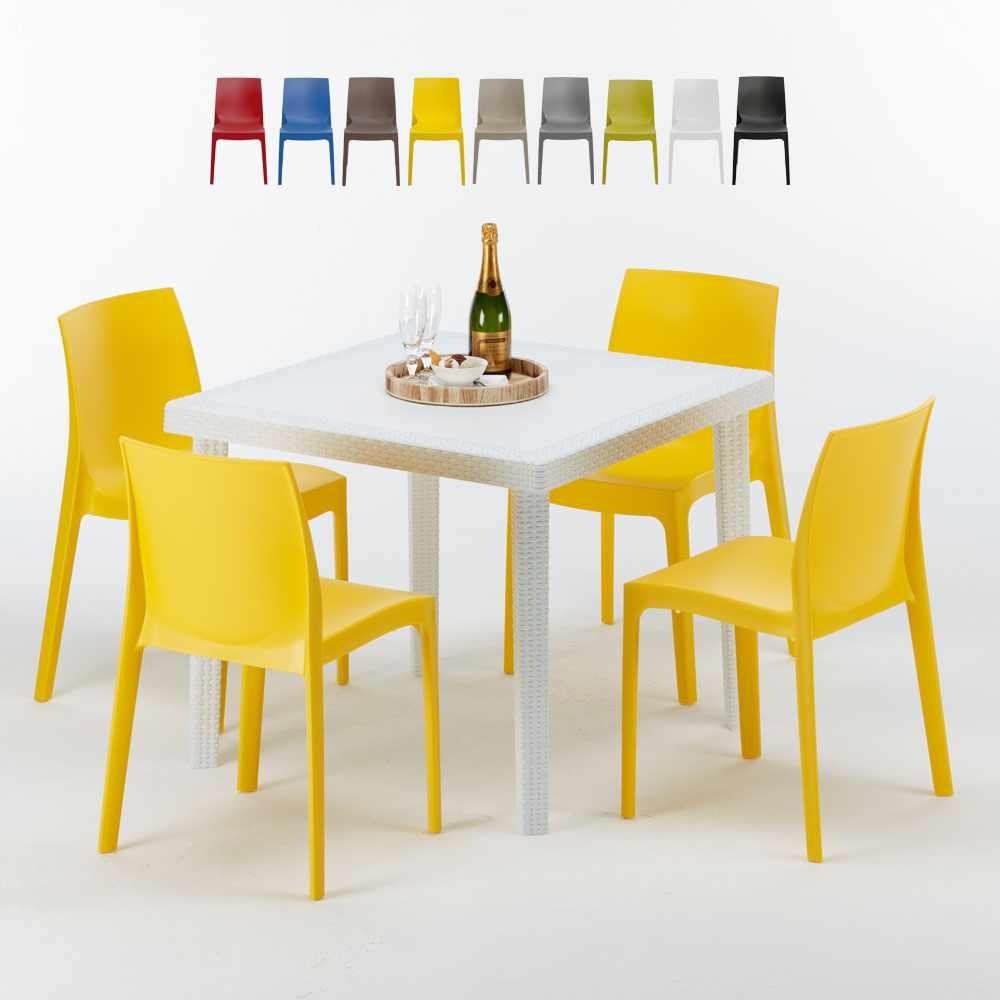 Sedie Colorate Fai Da Te.Rome Love Tavolino Quadrato Bianco 90x90 Cm Con 4 Sedie Colorate