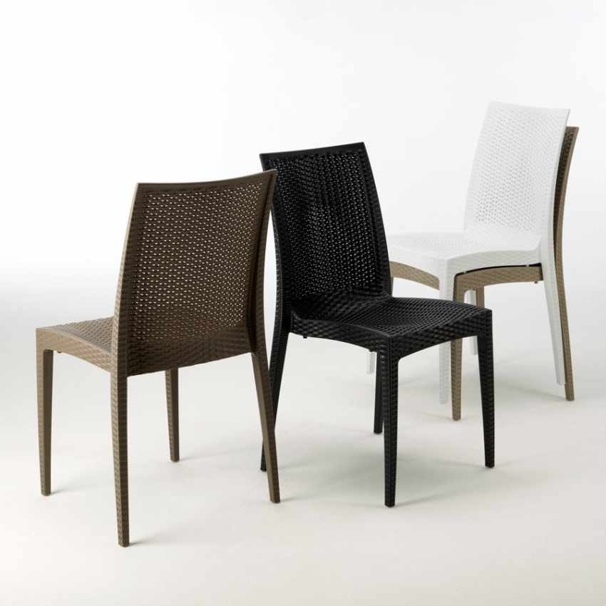 Tavolino Quadrato Nero 90x90 Con 4 Sedie Esterno Bar BISTROT PASSION - interno