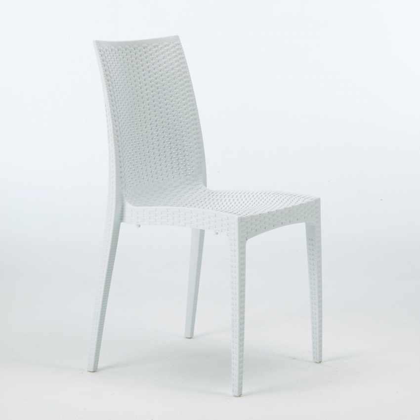 Tavolino Quadrato Nero 90x90 Con 4 Sedie Esterno Bar BISTROT PASSION - vendita