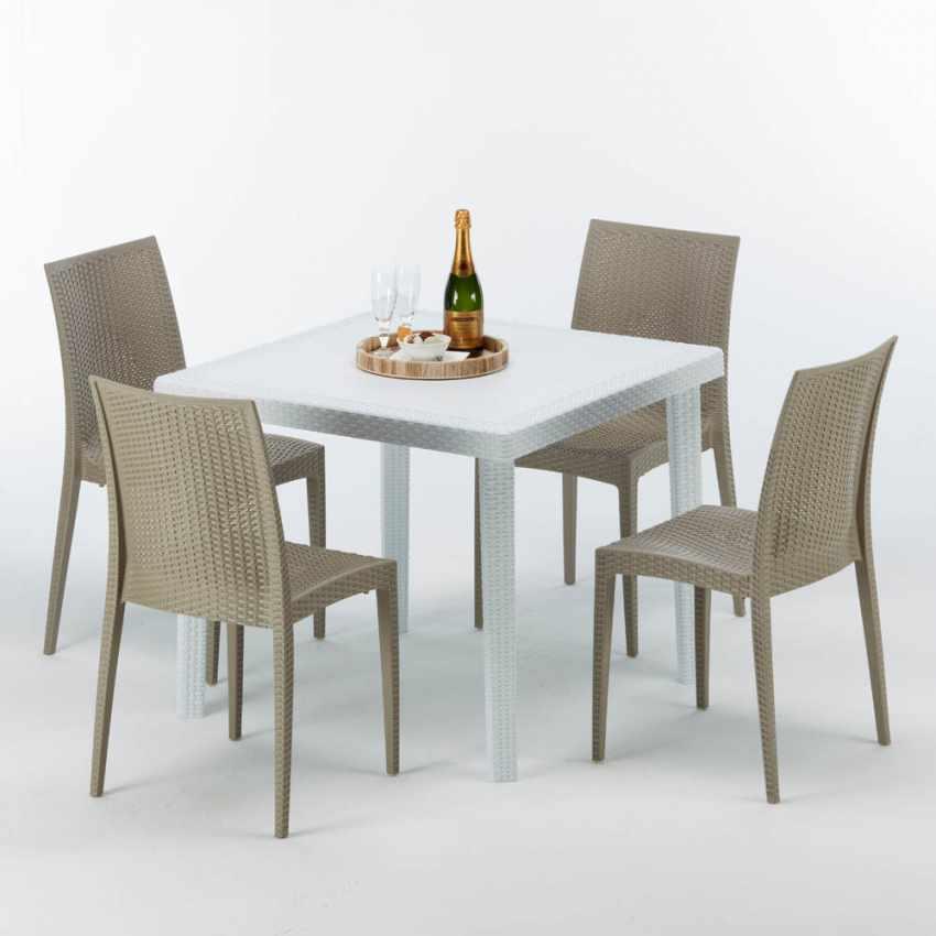 Tavolino Quadrato Bianco 90x90 Con 4 Sedie Esterno Bar BISTROT LOVE - immagine