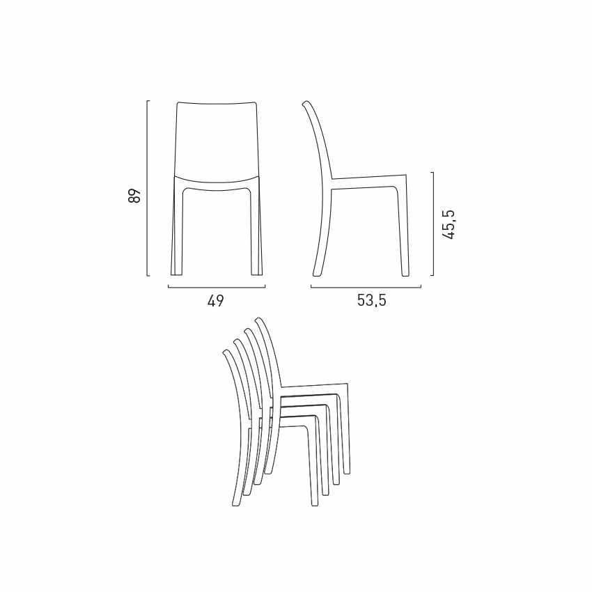 Tavolino Quadrato Bianco 90x90 Con 4 Sedie Esterno Bar BISTROT LOVE - esterno