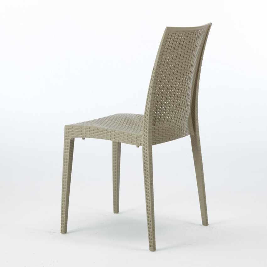 Tavolino Quadrato Bianco 90x90 Con 4 Sedie Esterno Bar BISTROT LOVE - interno