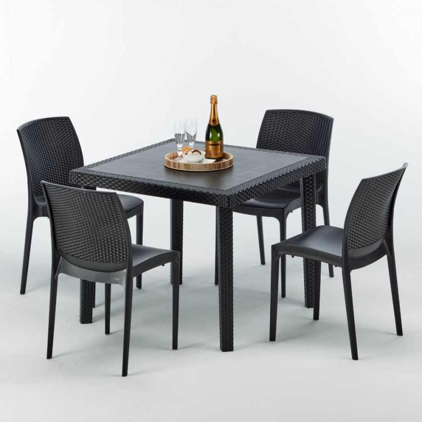 Tavolino Quadrato Nero 90x90 Con 4 Sedie Esterno Bar BOHEME PASSION - immagine