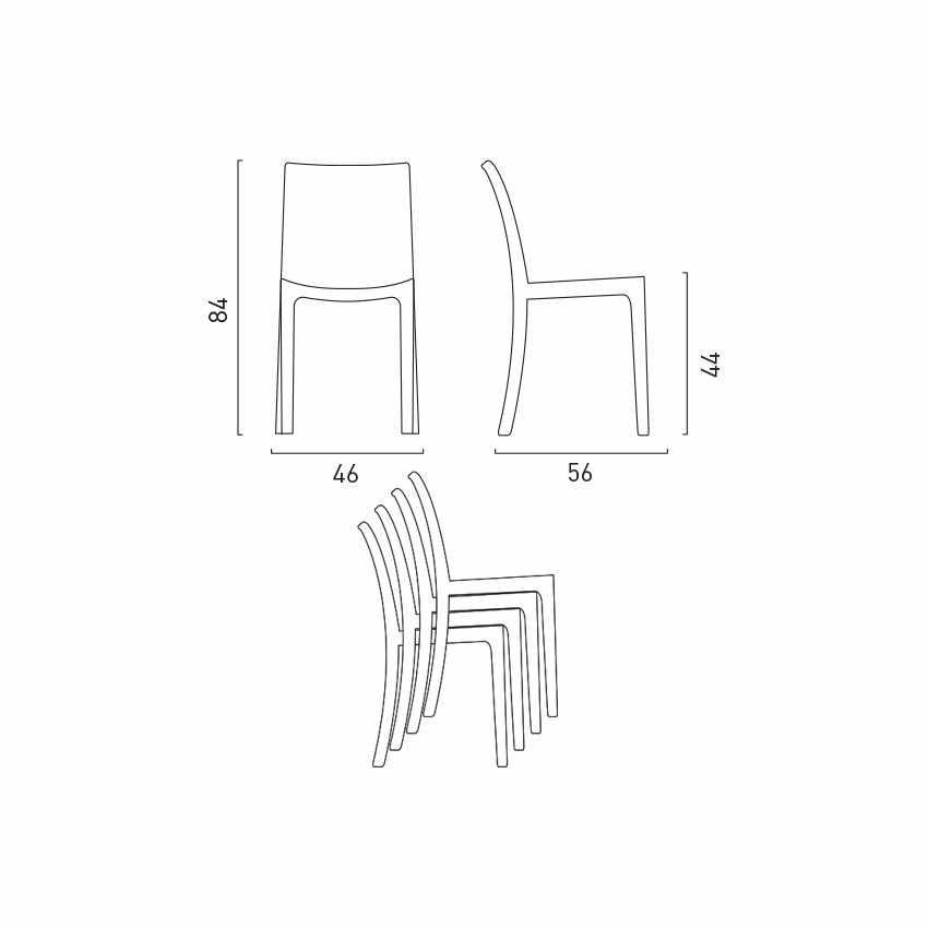 Tavolino Quadrato Nero 90x90 Con 4 Sedie Esterno Bar BOHEME PASSION - dettaglio