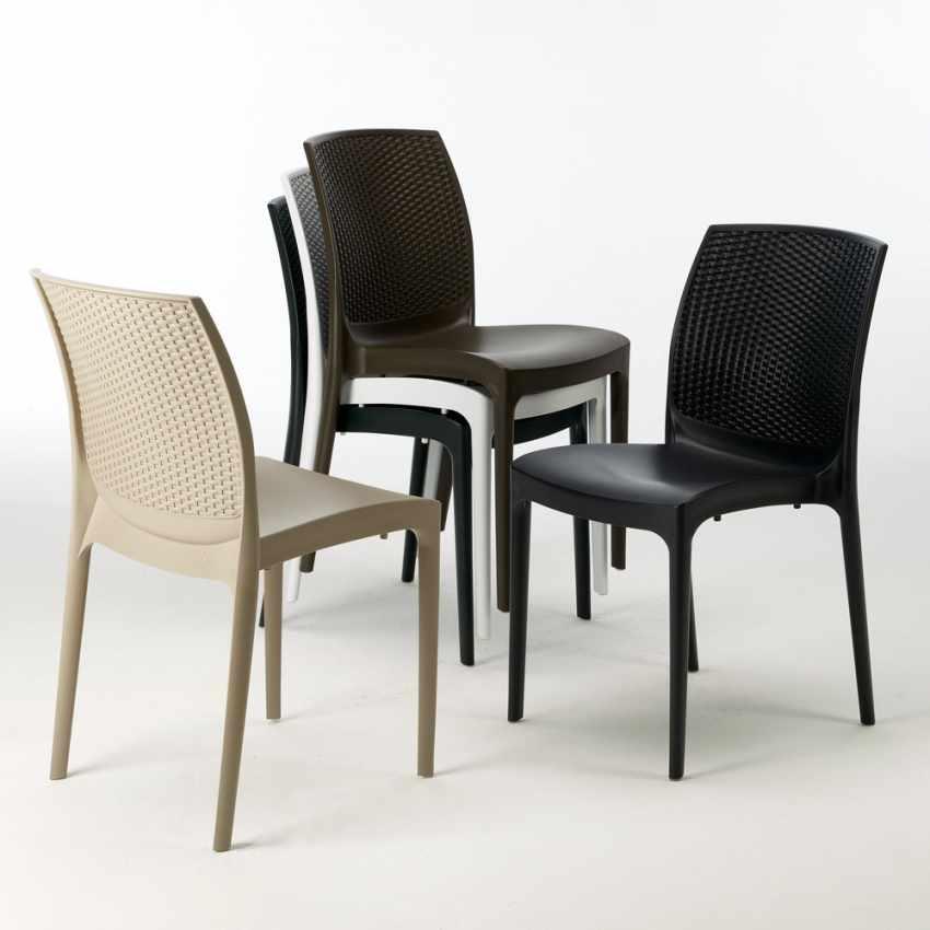 Tavolino Quadrato Nero 90x90 Con 4 Sedie Esterno Bar BOHEME PASSION - prezzo