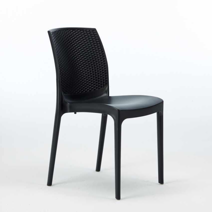 Tavolino Quadrato Nero 90x90 Con 4 Sedie Esterno Bar BOHEME PASSION - nuovo
