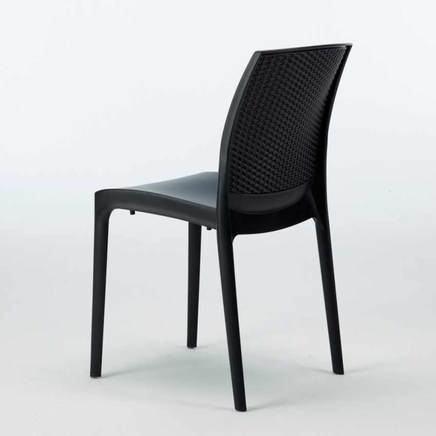 Tavolino Quadrato Nero 90x90 Con 4 Sedie Esterno Bar BOHEME PASSION - promo