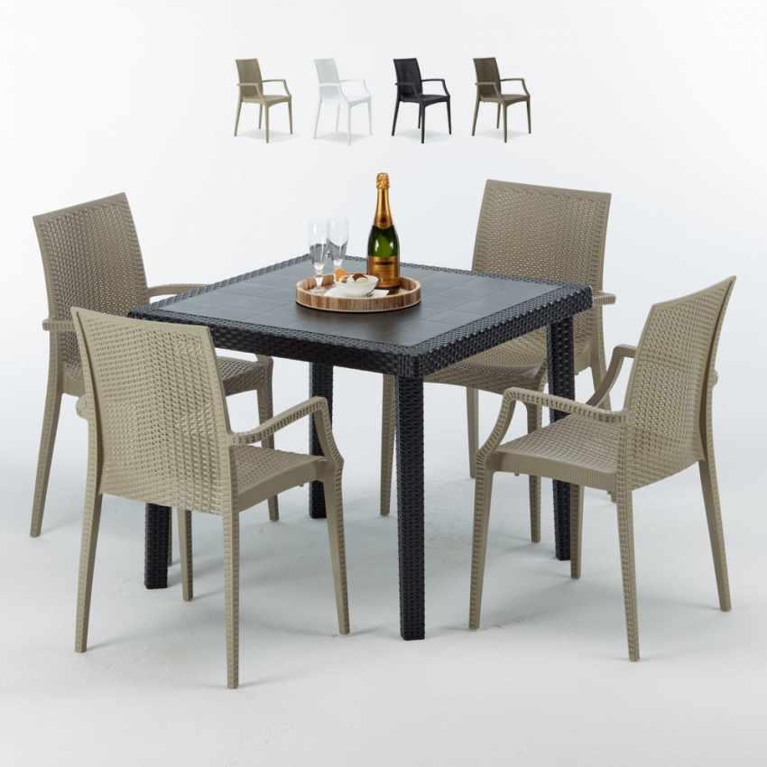 Tavolino Quadrato Nero 90x90 Con 4 Sedie Esterno Bar ARM BISTROT PASSION - promo
