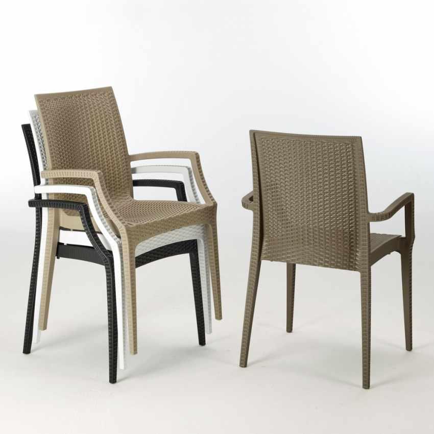 Tavolino Quadrato Nero 90x90 Con 4 Sedie Esterno Bar ARM BISTROT PASSION - nuovo