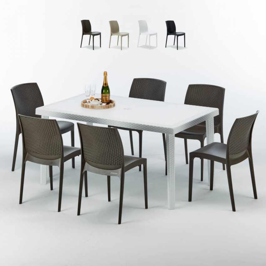 Tavolo Rettangolare Bianco 150x90 Con 6 Sedie Esterno Bar Boheme