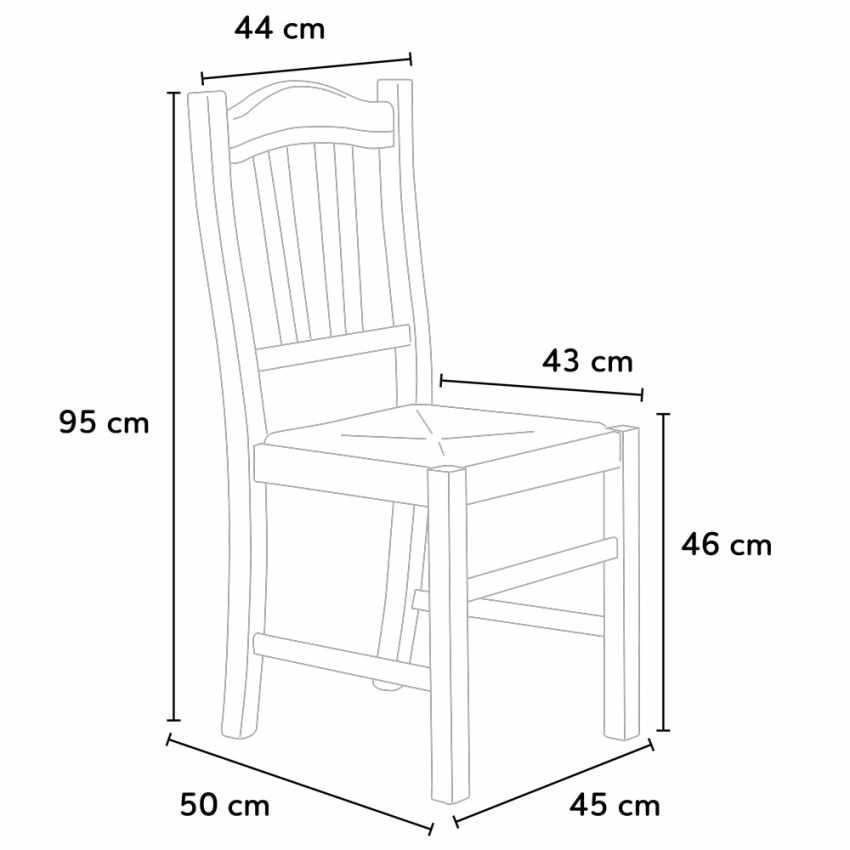 Sedia in legno con seduta impagliata per cucina e sala da pranzo SILVANA - immagine
