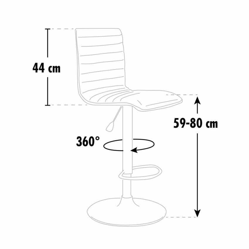 SGA043DET - Sgabello da bar cucina alto fisso girevole regolabile con schienale DETROIT - giallo
