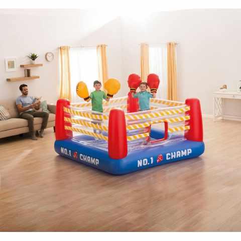 48250 - Jump o Lene Fun Ring Gonfiabile Intex 48250 per Bambini con Guantoni ad Aria - marrone