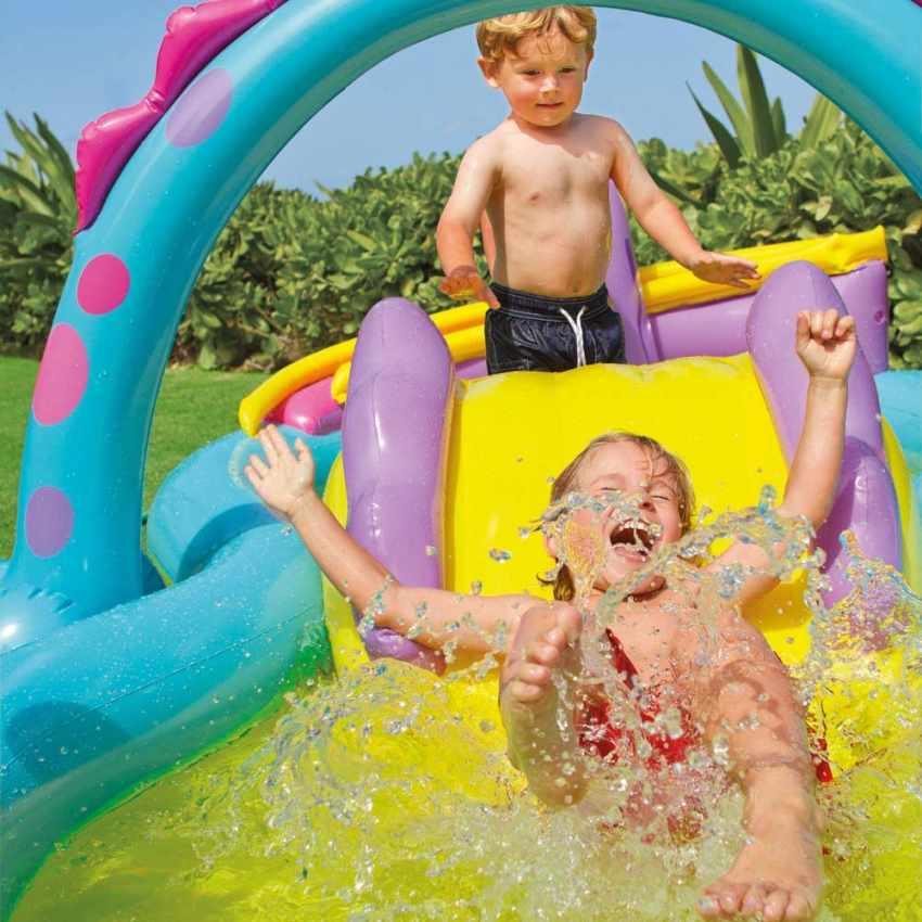 57135 - Piscina gonfiabile bambini Intex 57135 Dinoland Play Center gioco - rosa