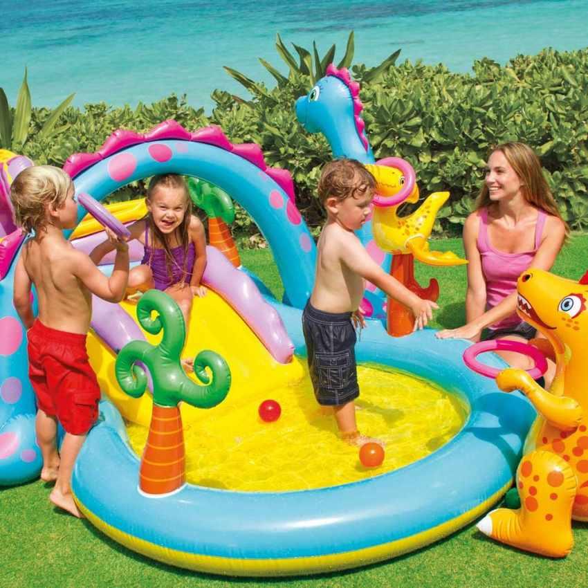 57135 - Piscina gonfiabile bambini Intex 57135 Dinoland Play Center gioco - giallo