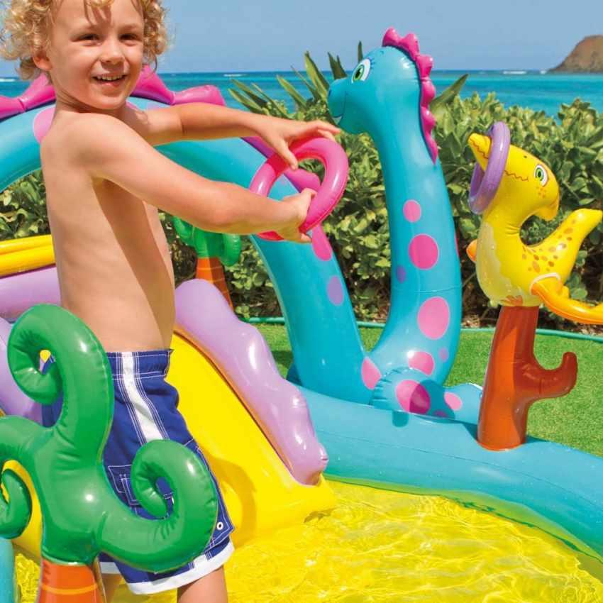 57135 - Piscina gonfiabile bambini Intex 57135 Dinoland Play Center gioco - verde