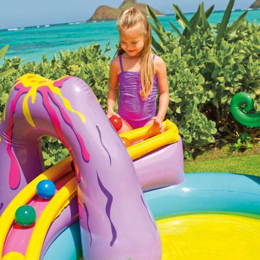 57135 - Piscina gonfiabile bambini Intex 57135 Dinoland Play Center gioco - blu