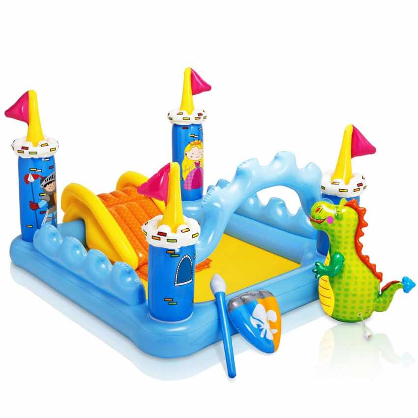 57138 - Piscina gonfiabile bambini Intex 57138 Fantasy Castle castello gioco scivolo - retro