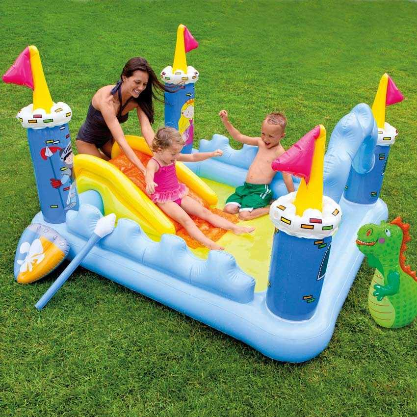57138 - Piscina gonfiabile bambini Intex 57138 Fantasy Castle castello gioco scivolo - grigio