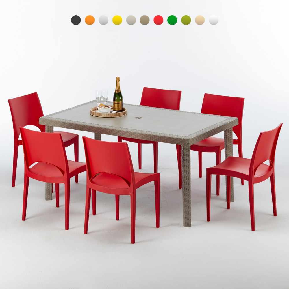 Tavolo Con Sedie Colorate.Marion Tavolo Rettangolare Beige 150x90 Cm Con 6 Sedie Colorate
