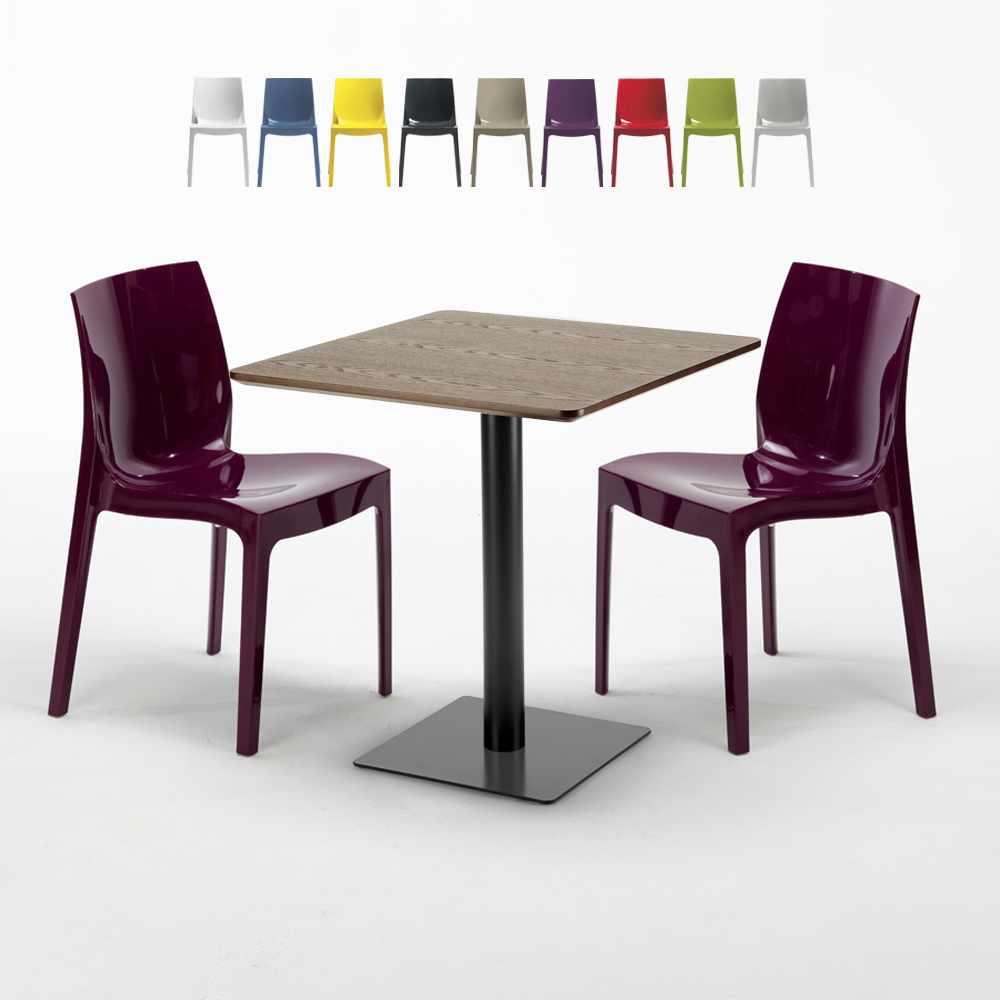 Tavolo Con Sedie Colorate.Tavolino Quadrato 60x60 Piano Effetto Legno Con 2 Sedie Ice Kiss