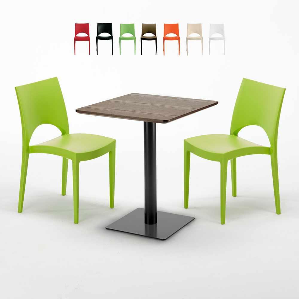 Tavolo Quadrato 60x60 cm Base Nera e Top in Legno con 2 Sedie Colorate PARIS KISS