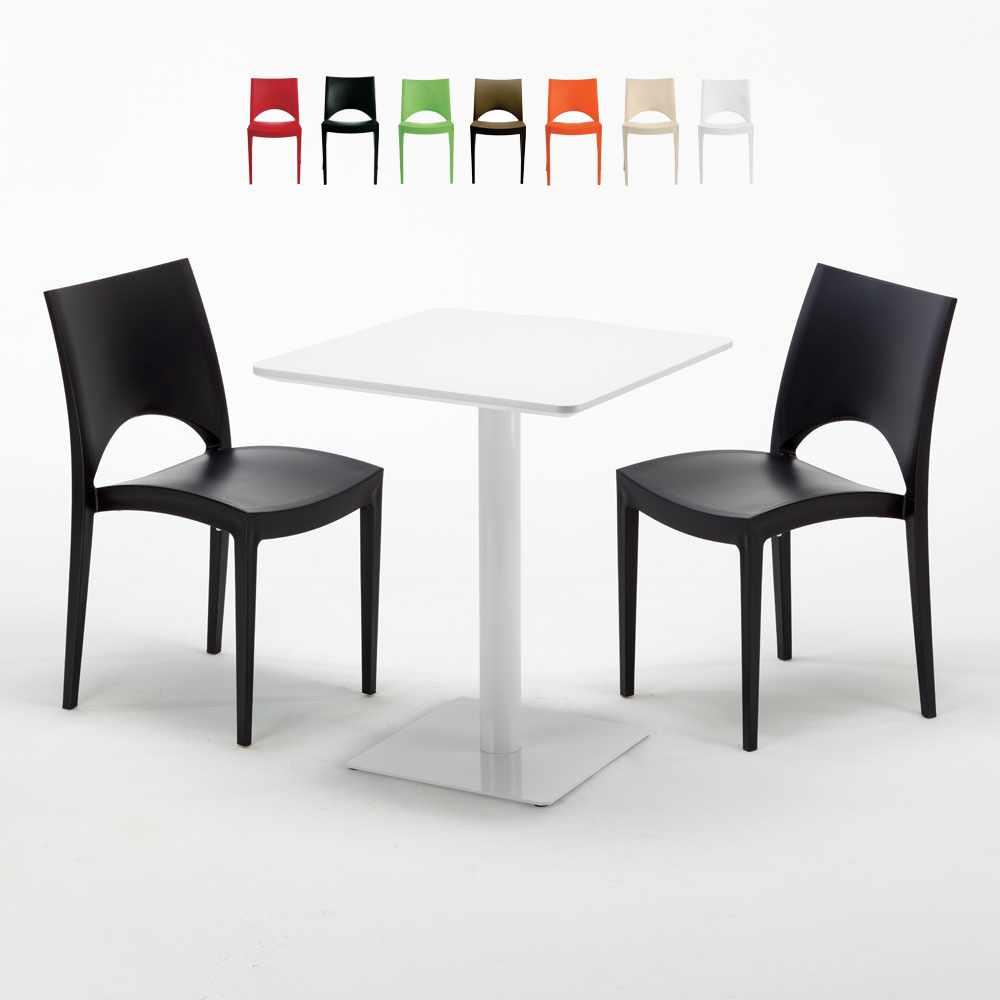Tavolo Quadrato Bianco 60x60 cm e 2 Sedie Colorate PARIS LEMON
