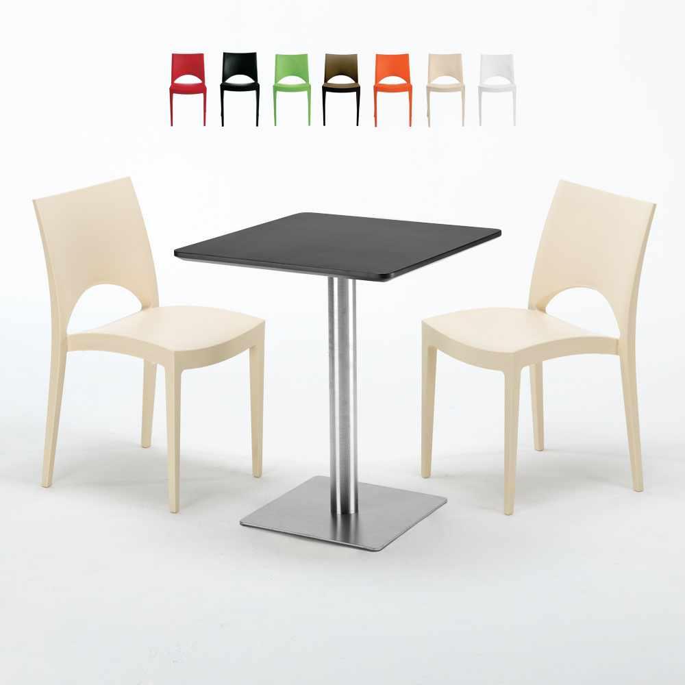 Tavolino Quadrato 60x60 cm Base in Acciaio e Top Nero con 2 Sedie Colorate PARIS PISTACHIO