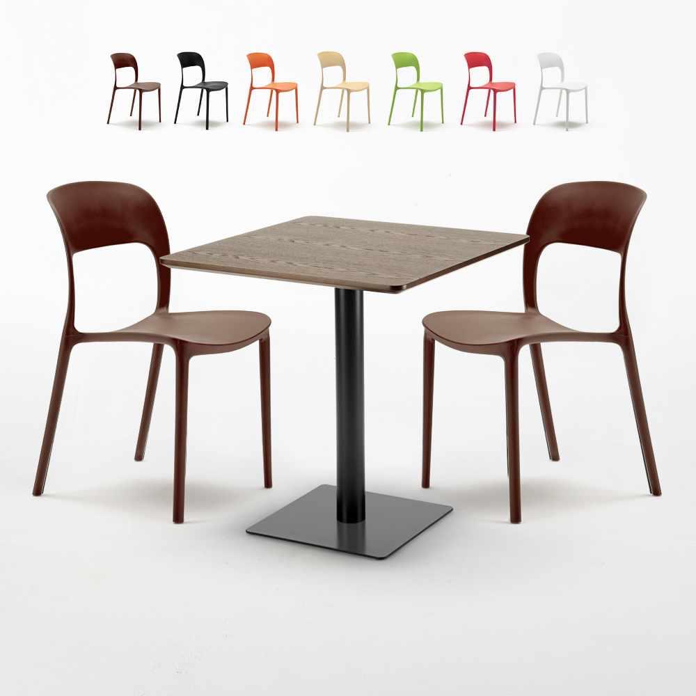 Sedie In Resina Colorate.Restaurant Melon Tavolino Quadrato 70x70 Effetto Legno Con 2 Sedie