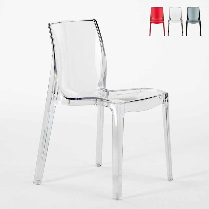 Sedie Cucina Design : Sedia trasparente impilabile per bar cucina soggiorno