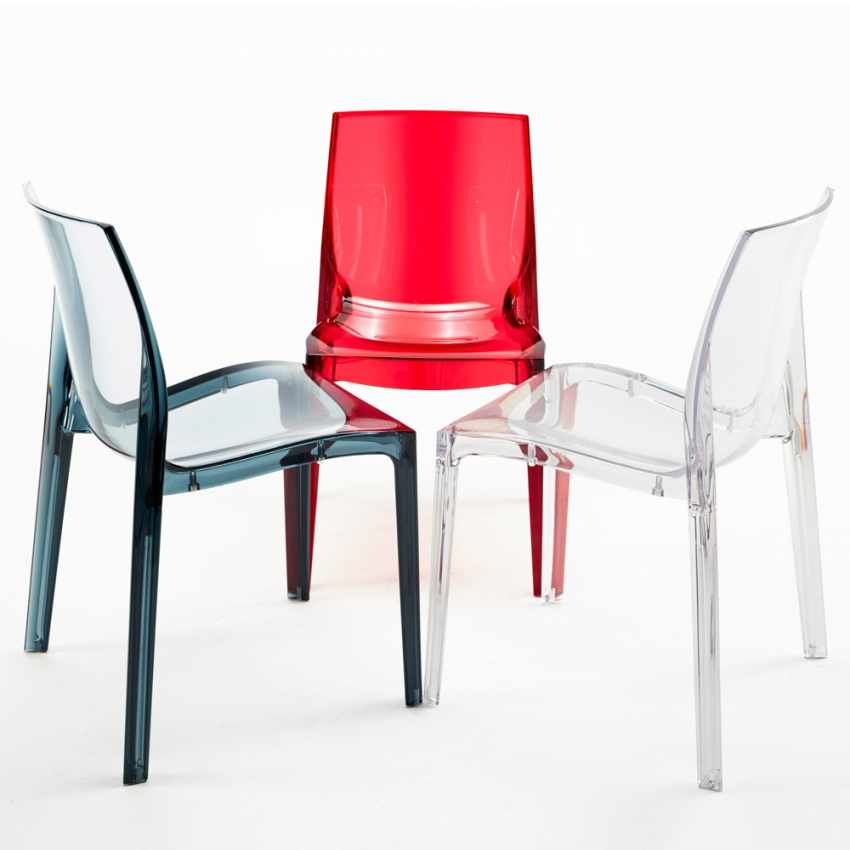 Sedia trasparente impilabile per bar cucina soggiorno for Sedie particolari da cucina